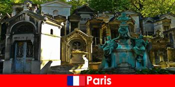 欧洲之旅的墓地爱好者与非凡的墓地在法国巴黎