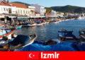 土耳其伊兹密尔市和海滩之间的活动旅客通勤