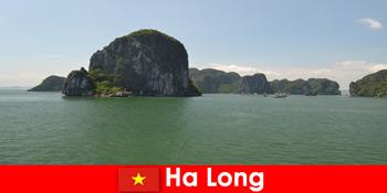 度假者乘船游览下龙越南的摇滚巨头