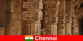 外国人参观钦奈印度,参观宏伟的五颜六色的寺庙